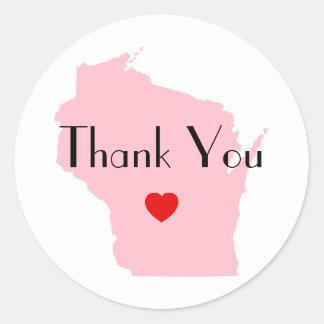 Pink Wisconsin Wedding Thank You Round Sticker