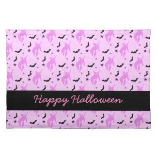 Pink Witch and Bats Girly Halloween Placemat