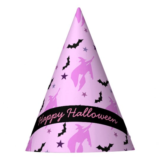 Pink Witch and Bats Girly Party Hat