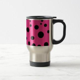 Pink with Black Polka Dots Fashion Fun Travel Mug