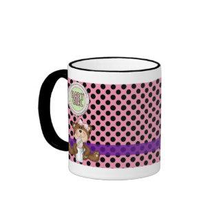 Pink with Black Polka Dots Girl Teddy Bear Ringer Mug