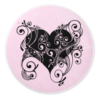 Pink with Black Tribal Heart Knob
