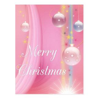 Pink with Bulbs Merry Christmas Holiday Postcards