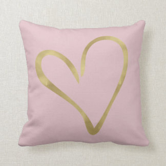 Pink with Gold Heart Throw Pillow