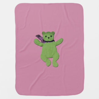 pink with Green Teddy Bear  baby blanket for her