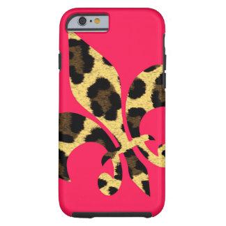 Pink with leopard Fleur de Lis Tough iPhone 6 Case