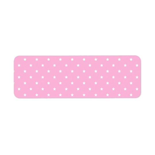 Pink with little white stars. Custom Return Address Label