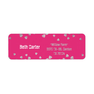 Pink with silk heart wedding address label