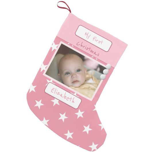 Pink with stars My First Christmas photo Small Christmas Stocking