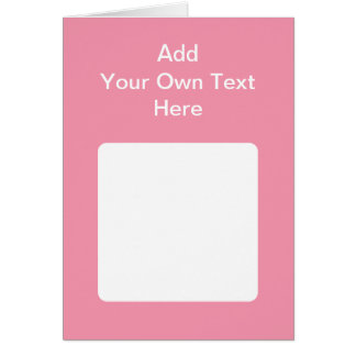 Pink with white area and text. card