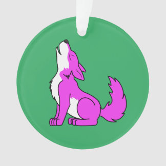 Pink Wolf Pup Howling Ornament