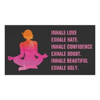Pink Woman in Yoga Pose | Motivational Yoga Quote Poster