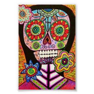 Pink Woman Sugar Skull Poster