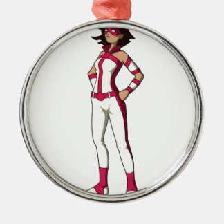 pink wonder mom Silver-Colored round ornament
