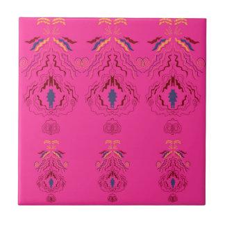 Pink wonderful Ornaments Folk design Ceramic Tile