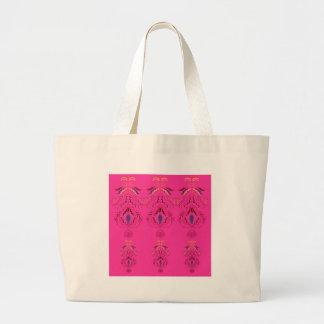 Pink wonderful Ornaments Folk design Large Tote Bag