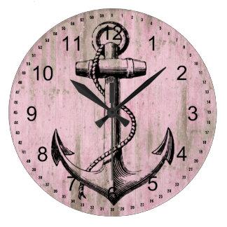 Pink Wood Anchor Large Clock