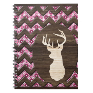 Pink Wood Chevron Deer Buck Notebook
