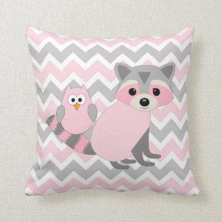 Pink Woodland animal baby nursery decor, fox owl Throw Pillow