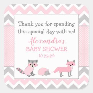 Pink woodland animal baby shower favor sticker