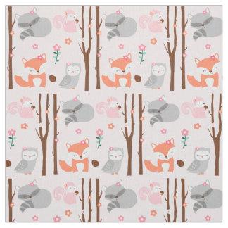 Pink Woodland Animal Fabric