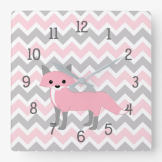 Pink Woodland Animal fox baby girl nursery decor Square Wall Clock
