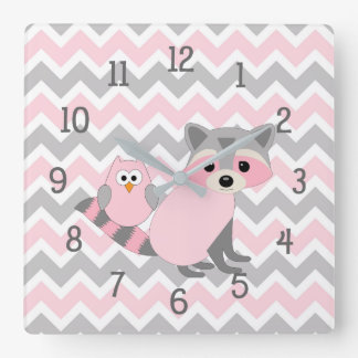 Pink Woodland Animal raccoon owl nursery decor Square Wall Clock
