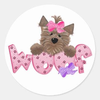 Pink Woof Dog Classic Round Sticker