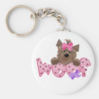 Pink Woof Dog Keychain