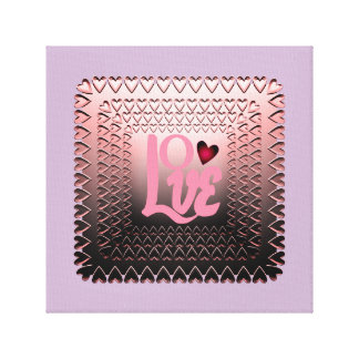 Pink Word love embossed hearts Canvas Print