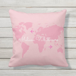 pink world map & airplanes, custom throw pillow