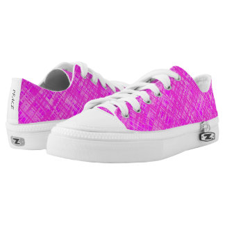 Pink Woven Pattern Low Top Canvas Shoes