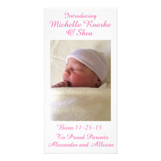 Pink Writing Inscription Baby Announcement 8x4 Custom Photo Card