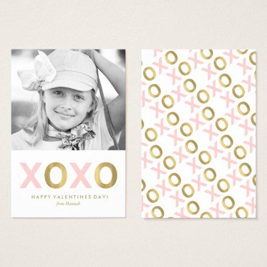 Pink XOXO Kids Classroom Photo Valentines Business Card