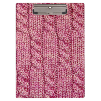 Pink Yarn Cabled Knit Clipboard