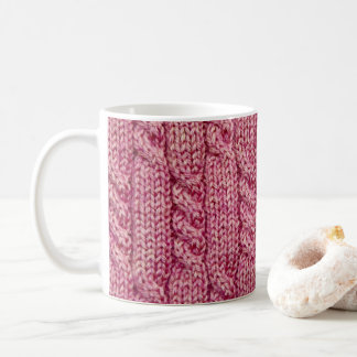 Pink Yarn Cabled Knit Coffee Mug