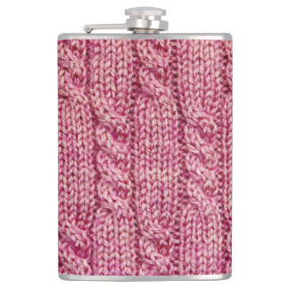 Pink Yarn Cabled Knit Hip Flask