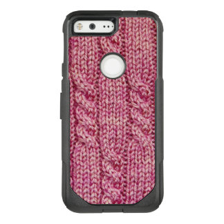 Pink Yarn Cabled Knit OtterBox Commuter Google Pixel Case