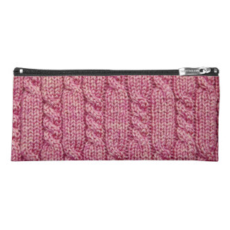 Pink Yarn Cabled Knit Pencil Case