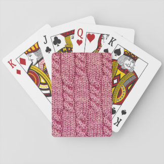 Pink Yarn Cabled Knit Playing Cards