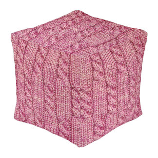 Pink Yarn Cabled Knit Pouf
