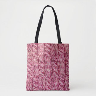 Pink Yarn Cabled Knit Tote Bag