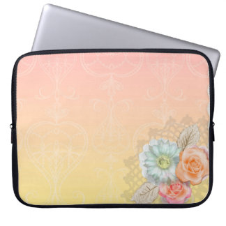 Pink Yellow Abstract Flowers Lace Laptop Sleeve