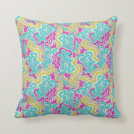 Pink, yellow and blue doodle pattern throw pillow