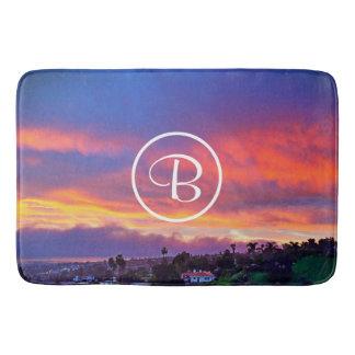 Pink yellow and blue sunrise photo custom monogram bath mat