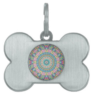 Pink yellow and green kaleidoscope flowers pet name tag