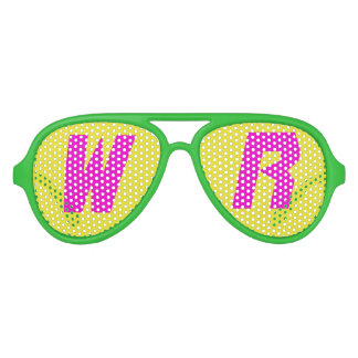Pink Yellow Aviator Party Shades, Green Sunglass Sunglasses
