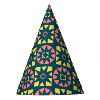 Pink Yellow Aztec Geometric Floral Print Party Hat