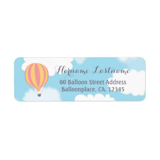 Pink Yellow Balloon Sky Return Address Labels