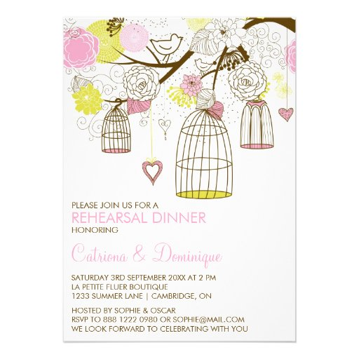 Pink Yellow Birdcages Rehearsal Dinner Invitation